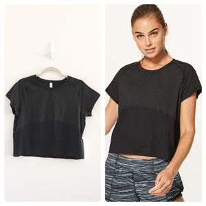 Lululemon Black Final Lap SS Crop Tee